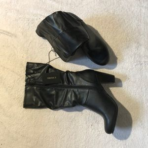 Forever 21 Black Rounded Point Ankle Boots